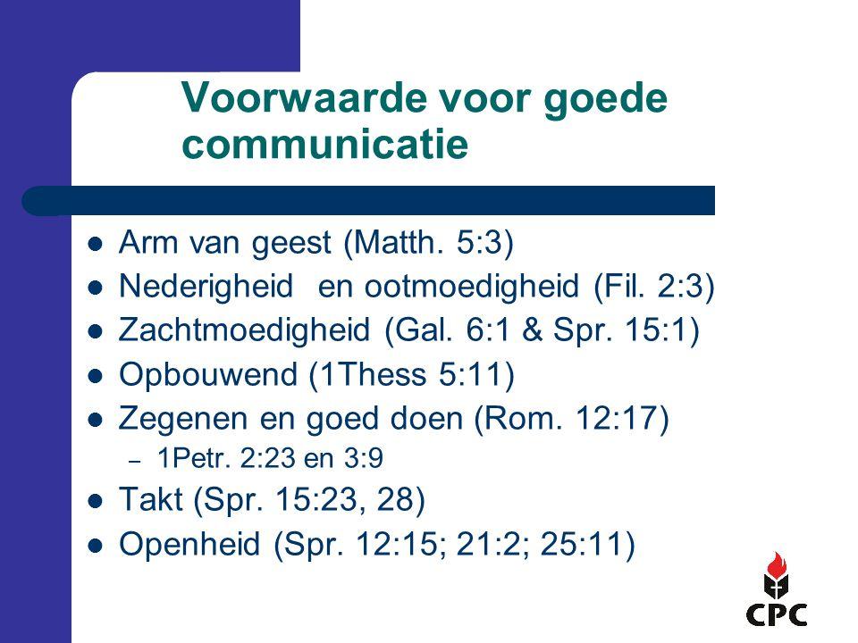 Voorwaarde voor goede communicatie Arm van geest (Matth.