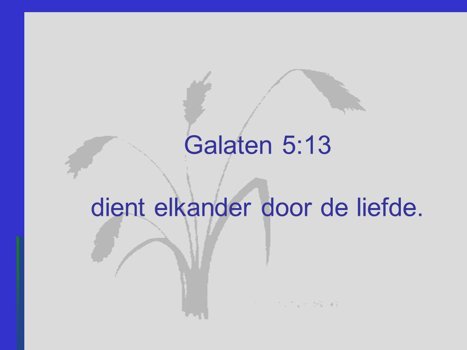 Galaten 5:13 dient elkander door de liefde.