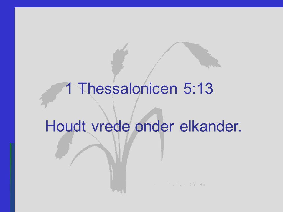 1 Thessalonicen 5:13 Houdt vrede onder elkander.