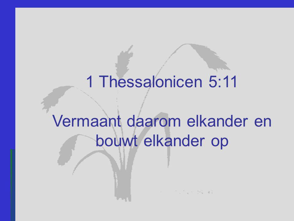 1 Thessalonicen 5:11 Vermaant daarom elkander en bouwt elkander op