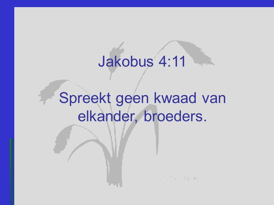 Jakobus 4:11 Spreekt geen kwaad van elkander, broeders.
