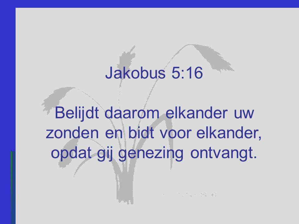 Jakobus 5:16 Belijdt daarom elkander uw zonden en bidt voor elkander, opdat gij genezing ontvangt.