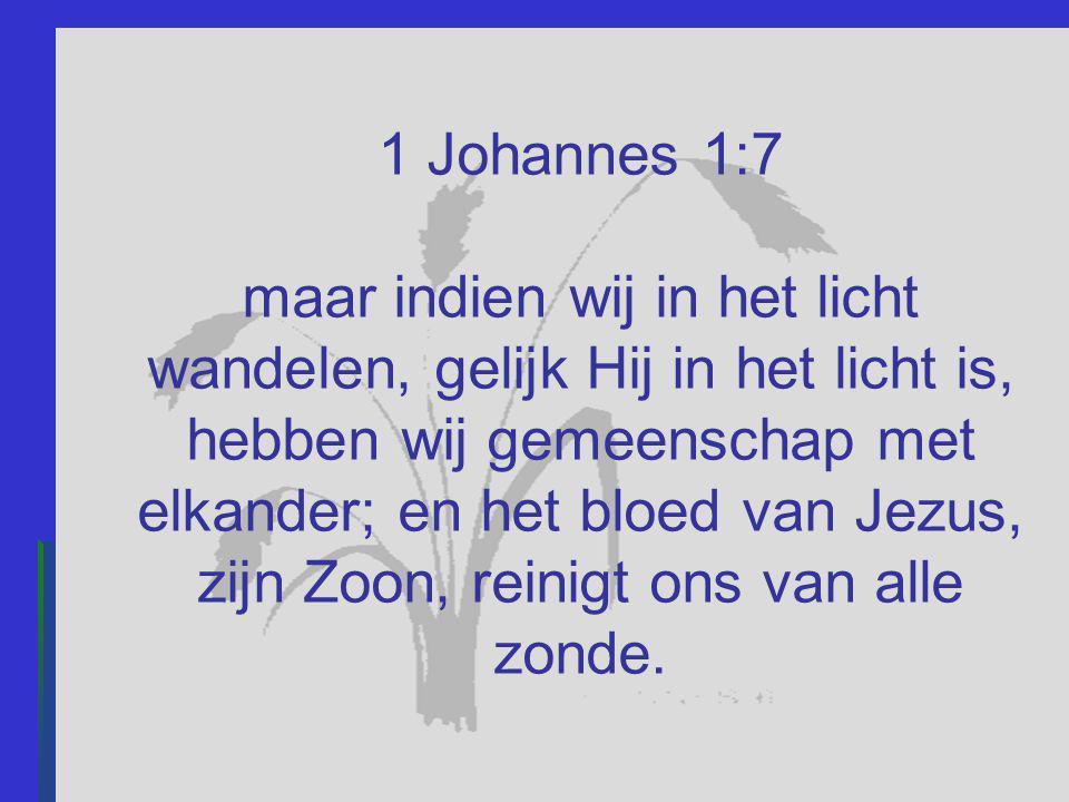 1 Johannes 1:7 maar indien wij in het licht wandelen, gelijk Hij in het licht is, hebben wij gemeenschap met elkander; en het bloed van Jezus, zijn Zo