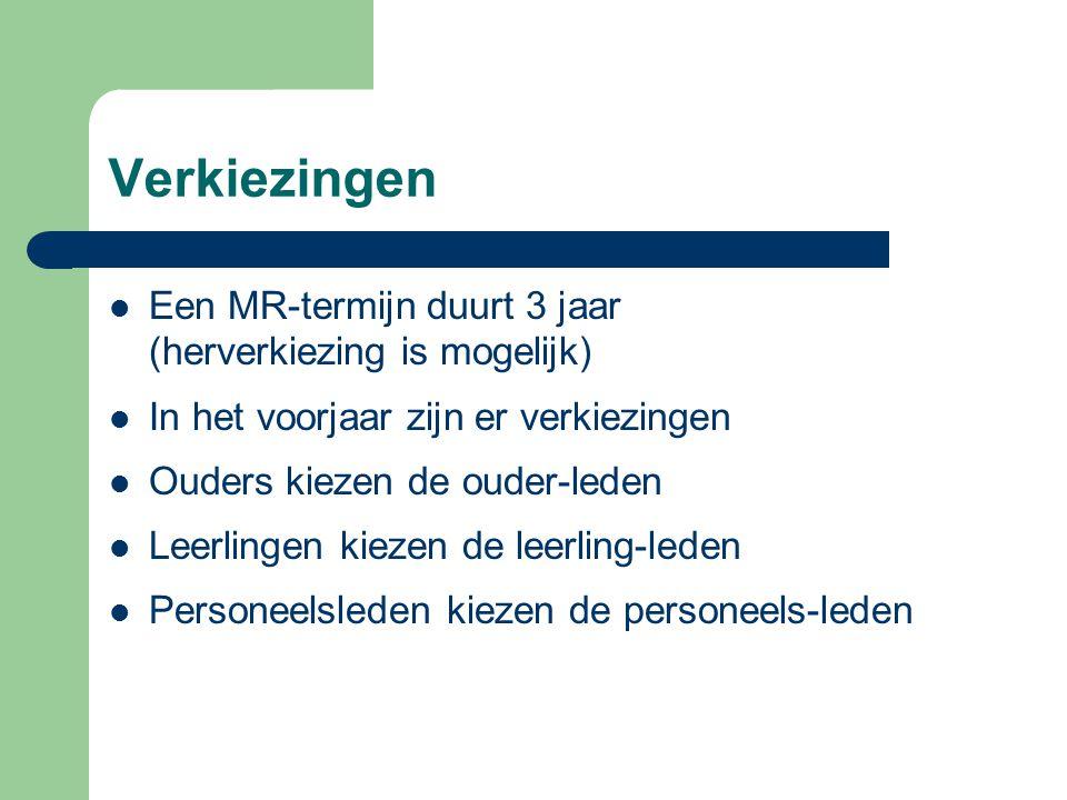 Verkiezingen Een MR-termijn duurt 3 jaar (herverkiezing is mogelijk) In het voorjaar zijn er verkiezingen Ouders kiezen de ouder-leden Leerlingen kiez
