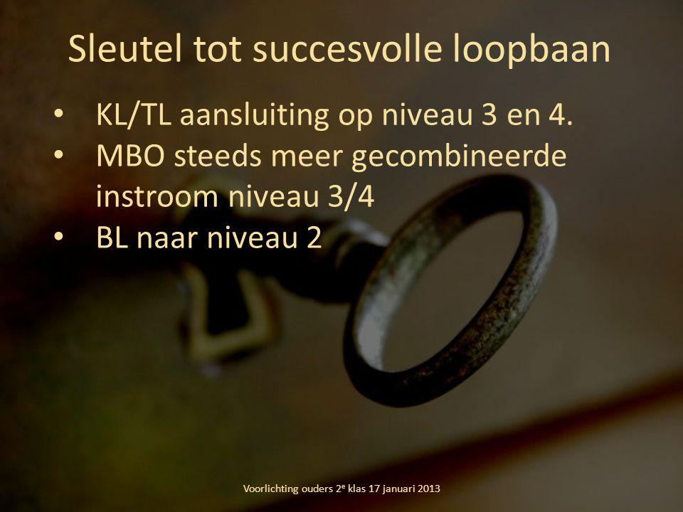 Sleutel tot succesvolle loopbaan Voorlichting ouders 2 e klas 17 januari 2013 KL/TL aansluiting op niveau 3 en 4. MBO steeds meer gecombineerde instro