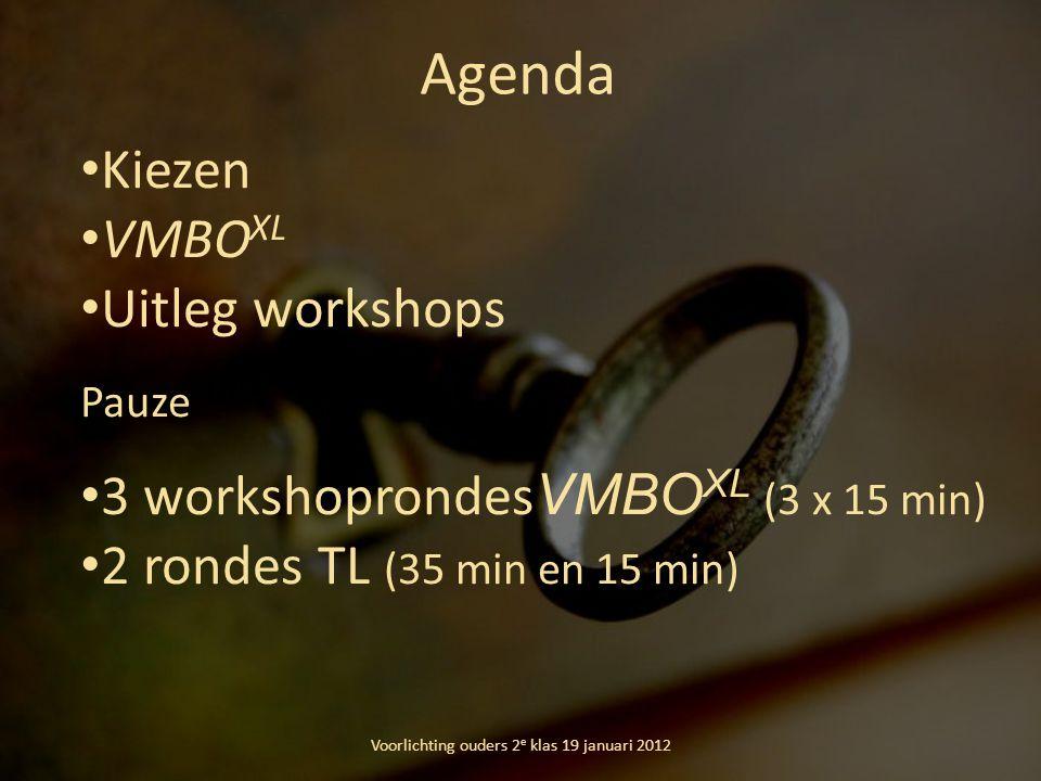 Agenda Voorlichting ouders 2 e klas 19 januari 2012 Kiezen VMBO XL Uitleg workshops Pauze 3 workshoprondes VMBO XL (3 x 15 min) 2 rondes TL (35 min en 15 min)