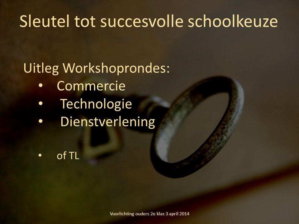 Sleutel tot succesvolle schoolkeuze Uitleg Workshoprondes: Commercie Technologie Dienstverlening of TL Voorlichting ouders 2e klas 3 april 2014
