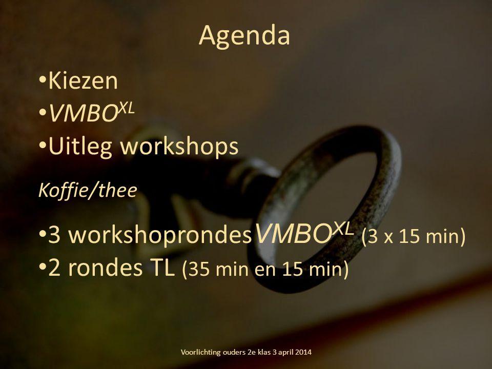 Agenda Kiezen VMBO XL Uitleg workshops Koffie/thee 3 workshoprondes VMBO XL (3 x 15 min) 2 rondes TL (35 min en 15 min) Voorlichting ouders 2e klas 3 april 2014