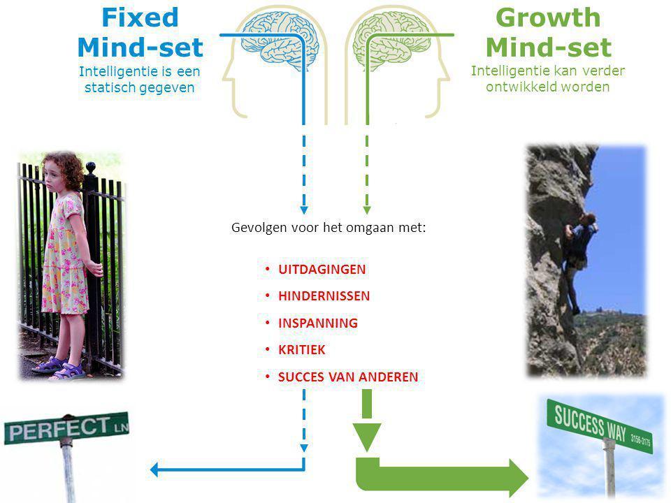 FIXED Mind-set Growth Mind-set Leidt ertoe dat men slim wil overkomen en daardoor heeft men de neiging om … Leidt tot de wil om te leren en daarom…