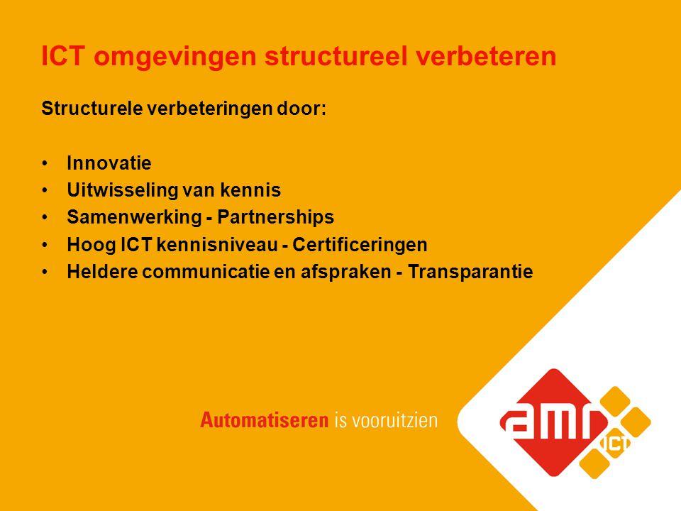 ICT omgevingen structureel verbeteren Structurele verbeteringen door: Innovatie Uitwisseling van kennis Samenwerking - Partnerships Hoog ICT kennisniv