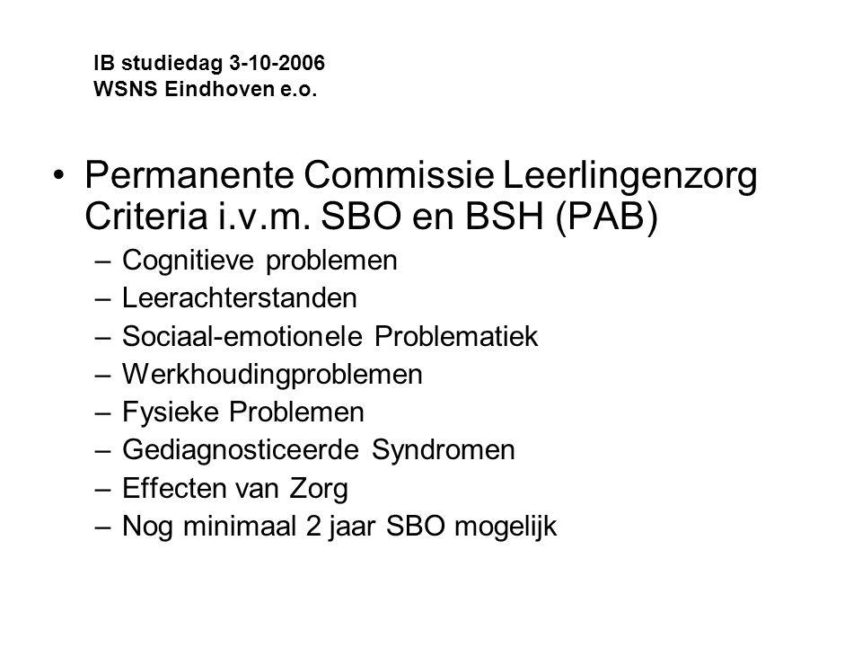 Permanente Commissie Leerlingenzorg Criteria i.v.m.