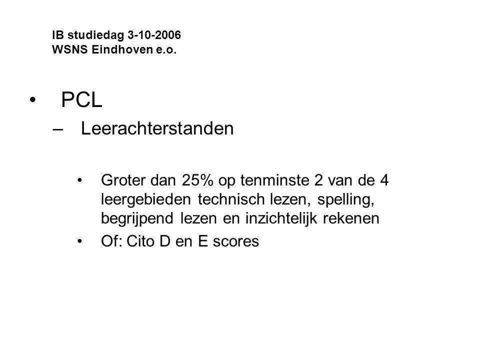 PCL –Leerachterstanden Groter dan 25% op tenminste 2 van de 4 leergebieden technisch lezen, spelling, begrijpend lezen en inzichtelijk rekenen Of: Cito D en E scores IB studiedag 3-10-2006 WSNS Eindhoven e.o.