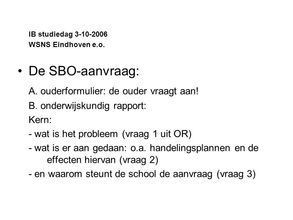 IB studiedag 3-10-2006 WSNS Eindhoven e.o.De SBO-aanvraag: A.