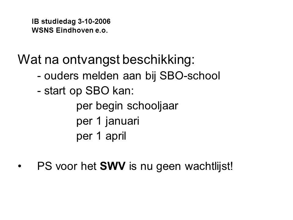 Wat na ontvangst beschikking: - ouders melden aan bij SBO-school - start op SBO kan: per begin schooljaar per 1 januari per 1 april PS voor het SWV is nu geen wachtlijst.