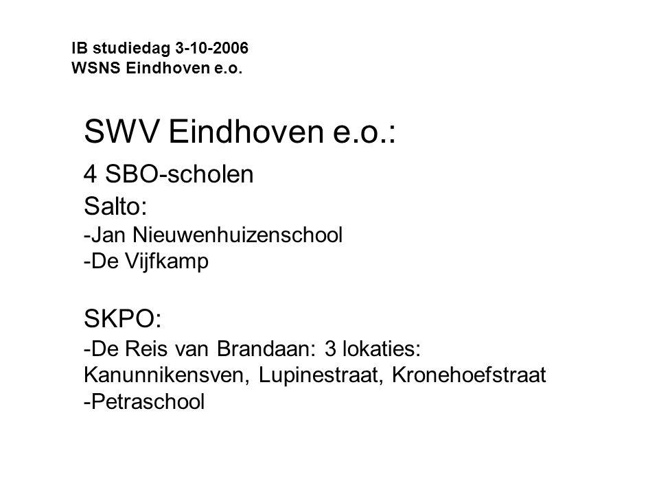 SWV Eindhoven e.o.: 4 SBO-scholen Salto: -Jan Nieuwenhuizenschool -De Vijfkamp SKPO: -De Reis van Brandaan: 3 lokaties: Kanunnikensven, Lupinestraat, Kronehoefstraat -Petraschool IB studiedag 3-10-2006 WSNS Eindhoven e.o.