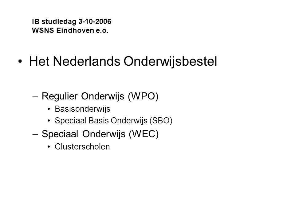 Het Nederlands Onderwijsbestel –Regulier Onderwijs (WPO) Basisonderwijs Speciaal Basis Onderwijs (SBO) –Speciaal Onderwijs (WEC) Clusterscholen IB studiedag 3-10-2006 WSNS Eindhoven e.o.