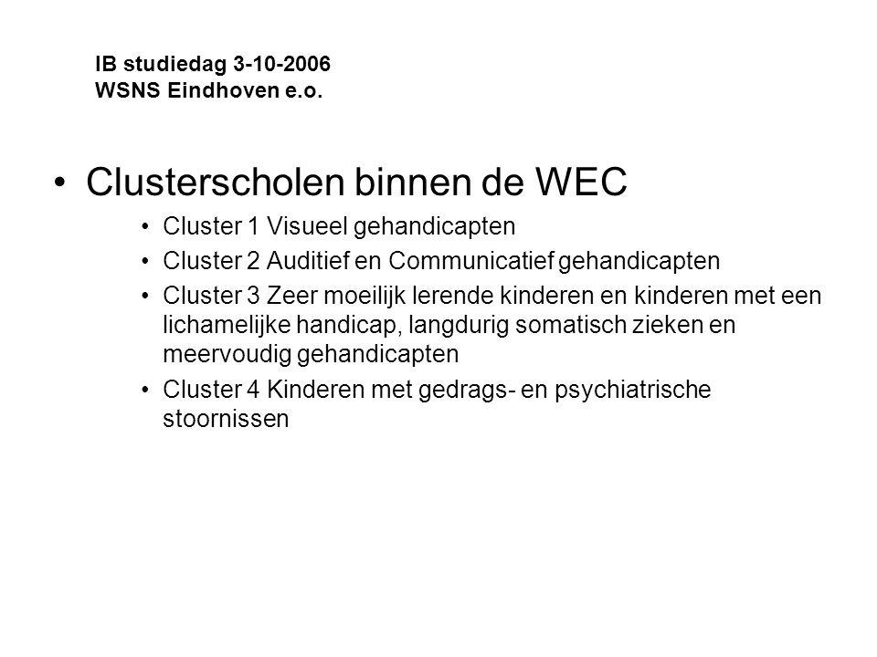 Clusterscholen binnen de WEC Cluster 1 Visueel gehandicapten Cluster 2 Auditief en Communicatief gehandicapten Cluster 3 Zeer moeilijk lerende kinderen en kinderen met een lichamelijke handicap, langdurig somatisch zieken en meervoudig gehandicapten Cluster 4 Kinderen met gedrags- en psychiatrische stoornissen IB studiedag 3-10-2006 WSNS Eindhoven e.o.