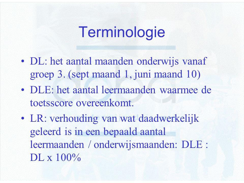 Terminologie DL: het aantal maanden onderwijs vanaf groep 3. (sept maand 1, juni maand 10) DLE: het aantal leermaanden waarmee de toetsscore overeenko