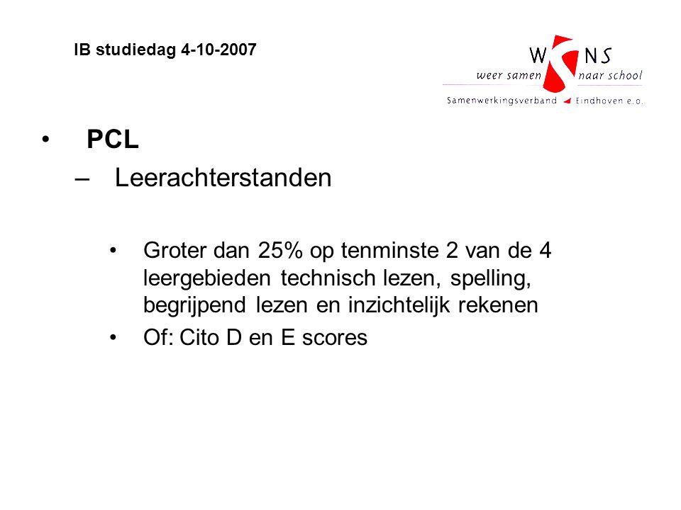PCL –Leerachterstanden Groter dan 25% op tenminste 2 van de 4 leergebieden technisch lezen, spelling, begrijpend lezen en inzichtelijk rekenen Of: Cit