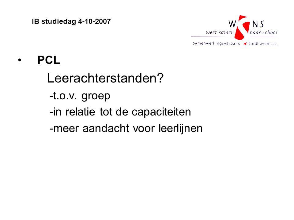 PCL Leerachterstanden? -t.o.v. groep -in relatie tot de capaciteiten -meer aandacht voor leerlijnen IB studiedag 4-10-2007