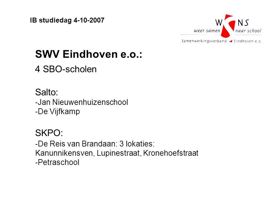 SWV Eindhoven e.o.: 4 SBO-scholen Salto: -Jan Nieuwenhuizenschool -De Vijfkamp SKPO: -De Reis van Brandaan: 3 lokaties: Kanunnikensven, Lupinestraat,