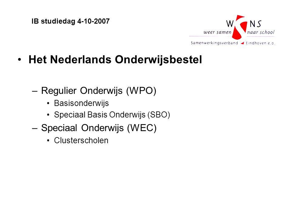 Het Nederlands Onderwijsbestel –Regulier Onderwijs (WPO) Basisonderwijs Speciaal Basis Onderwijs (SBO) –Speciaal Onderwijs (WEC) Clusterscholen IB stu
