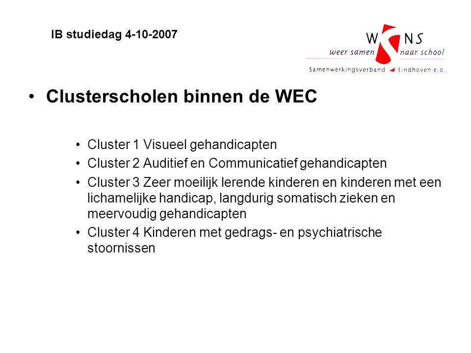 Clusterscholen binnen de WEC Cluster 1 Visueel gehandicapten Cluster 2 Auditief en Communicatief gehandicapten Cluster 3 Zeer moeilijk lerende kindere