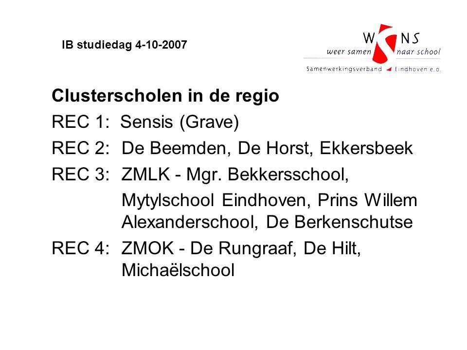 Clusterscholen in de regio REC 1: Sensis (Grave) REC 2: De Beemden, De Horst, Ekkersbeek REC 3: ZMLK - Mgr. Bekkersschool, Mytylschool Eindhoven, Prin