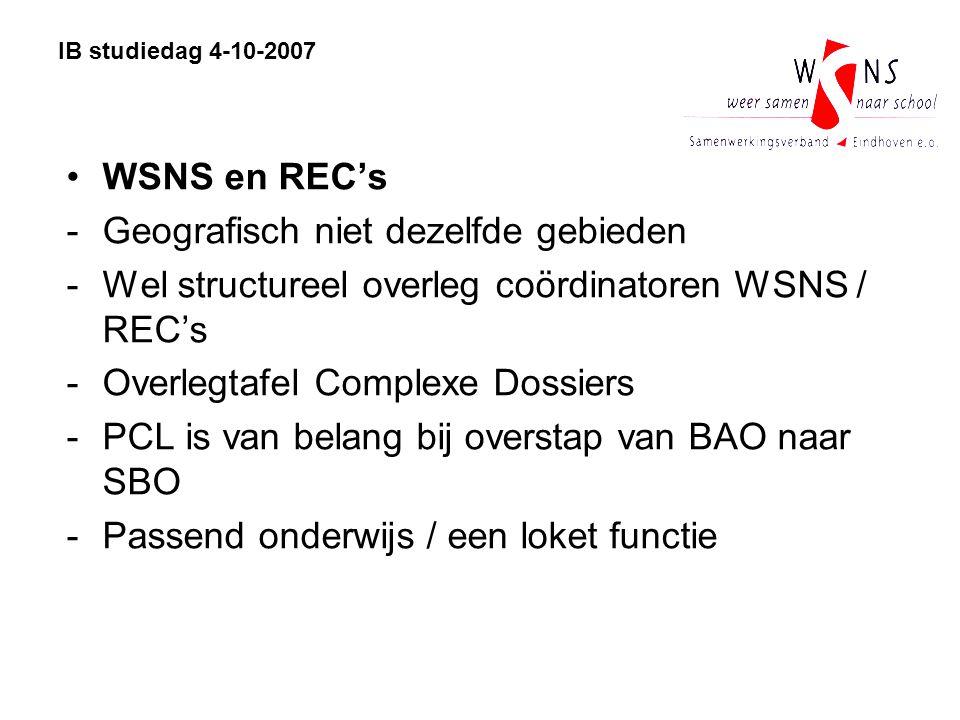 IB studiedag 4-10-2007 WSNS en REC's -Geografisch niet dezelfde gebieden -Wel structureel overleg coördinatoren WSNS / REC's -Overlegtafel Complexe Do