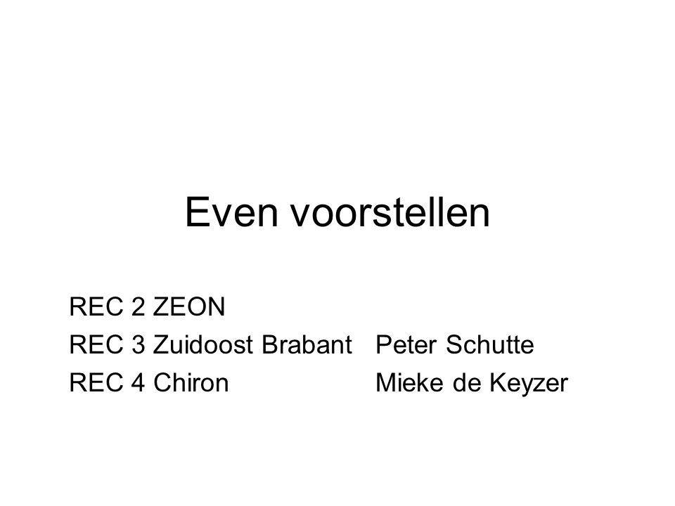 Even voorstellen REC 2 ZEON REC 3 Zuidoost Brabant Peter Schutte REC 4 Chiron Mieke de Keyzer