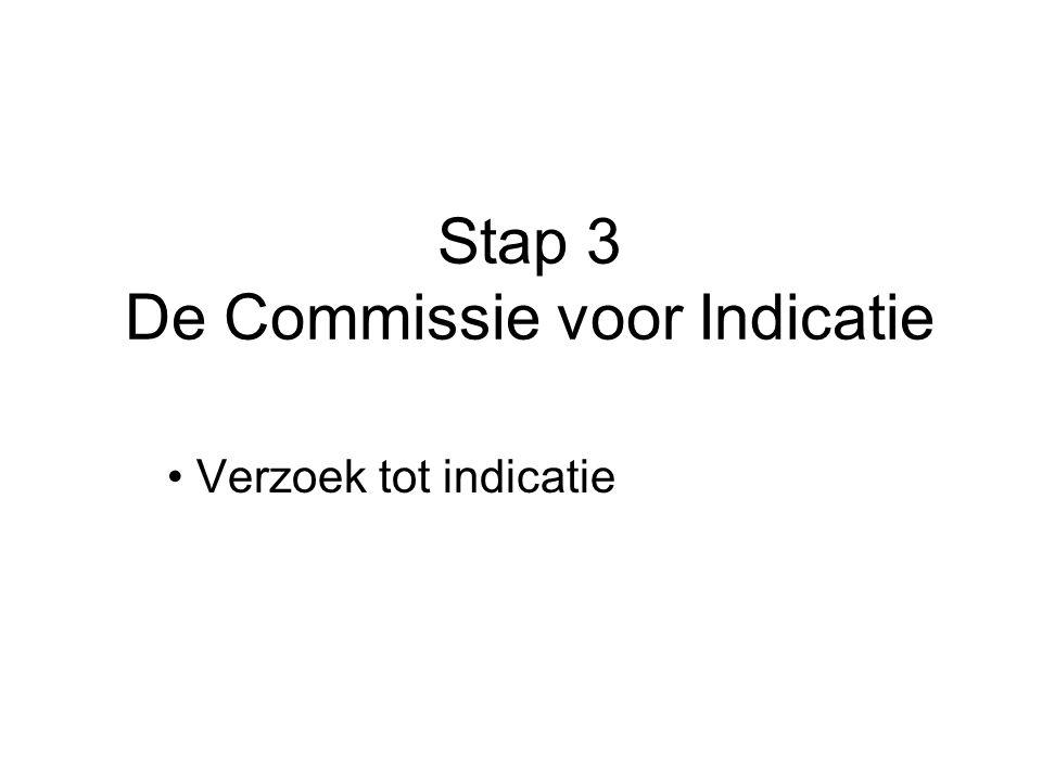 Stap 3 De Commissie voor Indicatie Verzoek tot indicatie