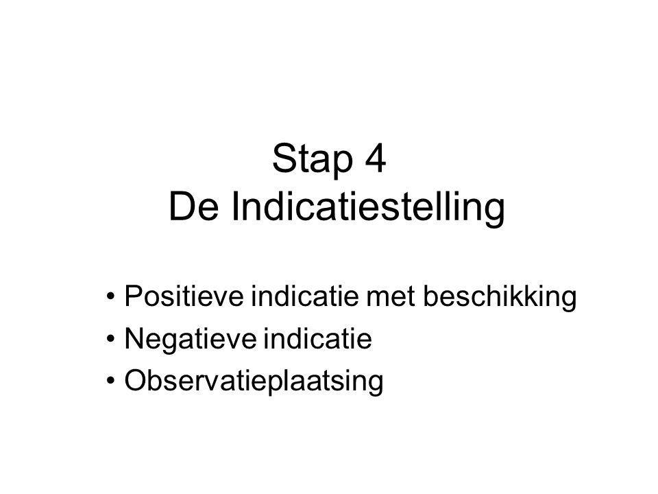 Stap 4 De Indicatiestelling Positieve indicatie met beschikking Negatieve indicatie Observatieplaatsing