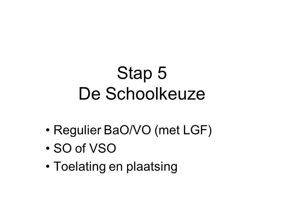 Stap 5 De Schoolkeuze Regulier BaO/VO (met LGF) SO of VSO Toelating en plaatsing
