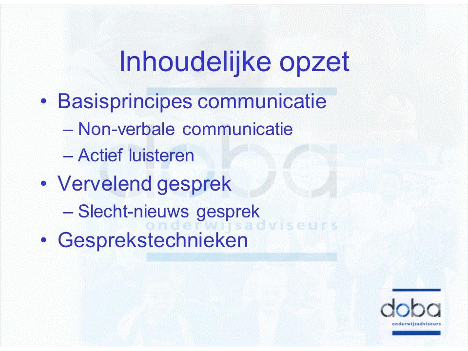 Inhoudelijke opzet Basisprincipes communicatie –Non-verbale communicatie –Actief luisteren Vervelend gesprek –Slecht-nieuws gesprek Gesprekstechnieken