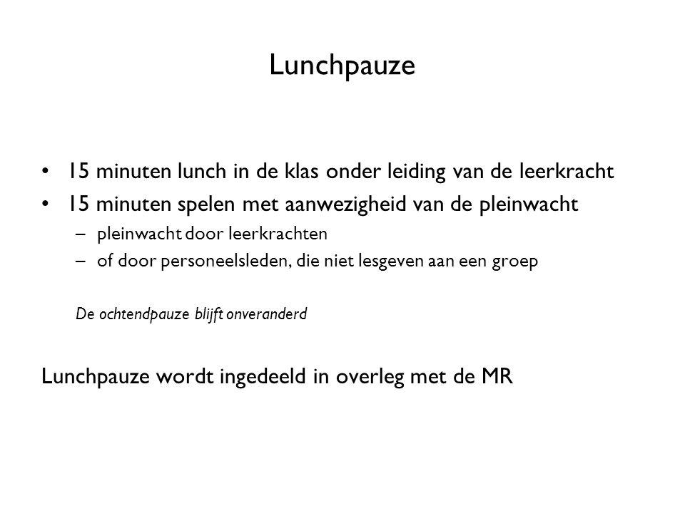 Lunchpauze 15 minuten lunch in de klas onder leiding van de leerkracht 15 minuten spelen met aanwezigheid van de pleinwacht –pleinwacht door leerkrach