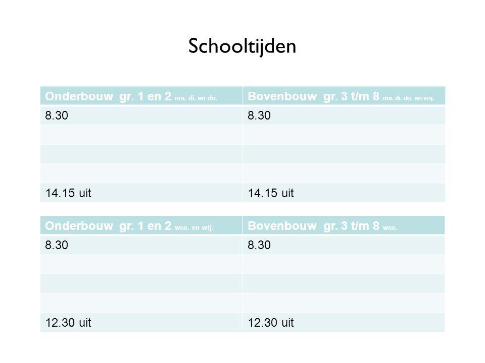 Schooltijden Onderbouw gr. 1 en 2 ma. di. en do. Bovenbouw gr. 3 t/m 8 ma. di. do. en vrij. 8.30 14.15 uit Onderbouw gr. 1 en 2 woe. en vrij. Bovenbou