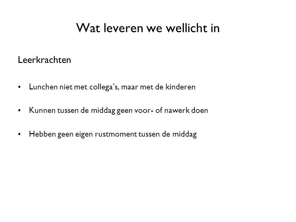 Wat leveren we wellicht in Leerkrachten Lunchen niet met collega's, maar met de kinderen Kunnen tussen de middag geen voor- of nawerk doen Hebben geen