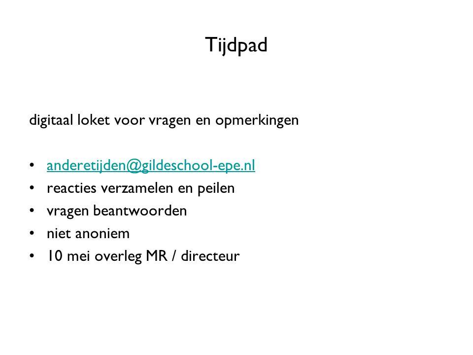 Tijdpad digitaal loket voor vragen en opmerkingen anderetijden@gildeschool-epe.nl reacties verzamelen en peilen vragen beantwoorden niet anoniem 10 me