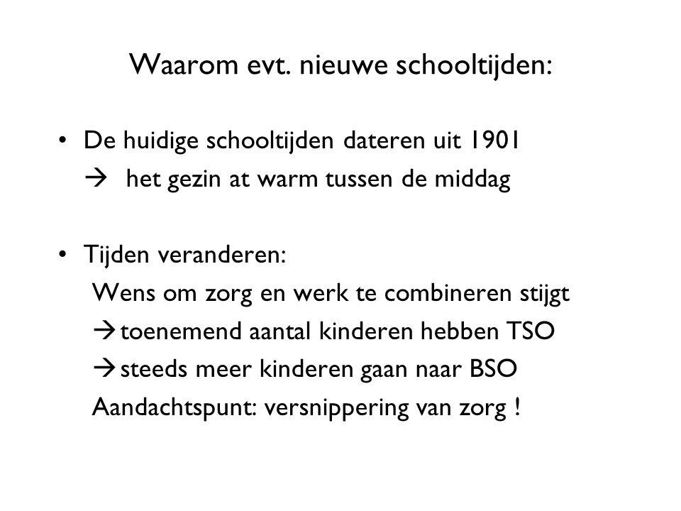 Waarom evt. nieuwe schooltijden: De huidige schooltijden dateren uit 1901  het gezin at warm tussen de middag Tijden veranderen: Wens om zorg en werk