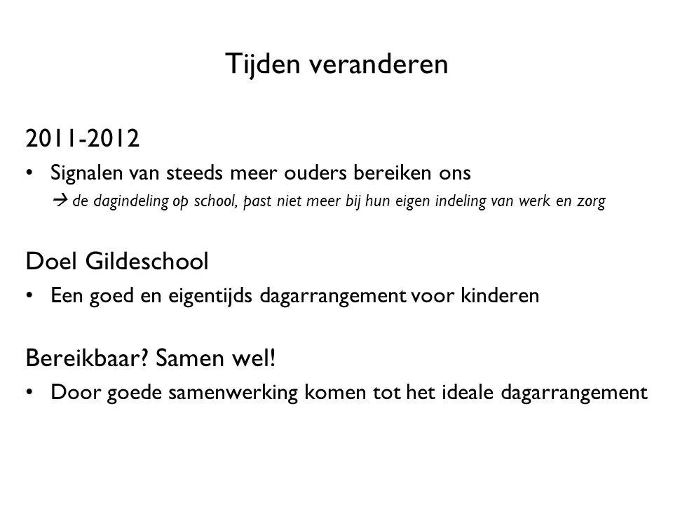 Tijden veranderen 2011-2012 Signalen van steeds meer ouders bereiken ons  de dagindeling op school, past niet meer bij hun eigen indeling van werk en