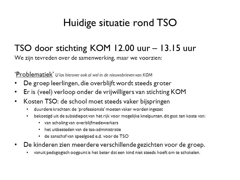 Huidige situatie rond TSO TSO door stichting KOM 12.00 uur – 13.15 uur We zijn tevreden over de samenwerking, maar we voorzien: 'Problematiek' U las h