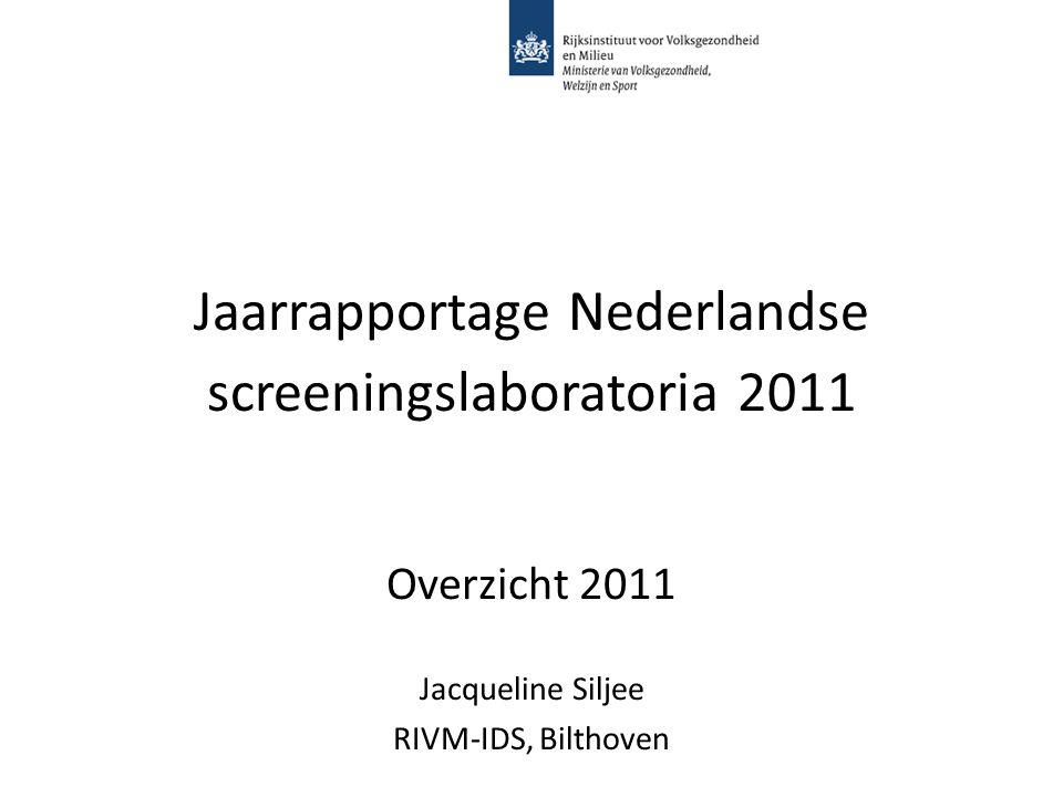 Jaarrapportage Nederlandse screeningslaboratoria 2011 Overzicht 2011 Jacqueline Siljee RIVM-IDS, Bilthoven