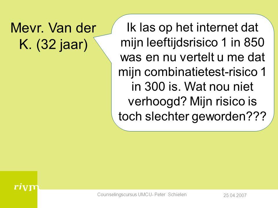 25.04.2007 Counselingscursus UMCU- Peter Schielen Ik las op het internet dat mijn leeftijdsrisico 1 in 850 was en nu vertelt u me dat mijn combinatietest-risico 1 in 300 is.