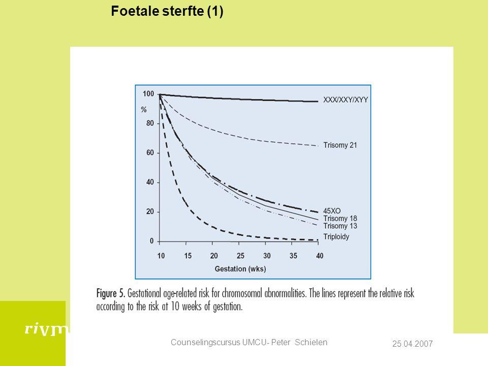 25.04.2007 Counselingscursus UMCU- Peter Schielen Foetale sterfte (1)