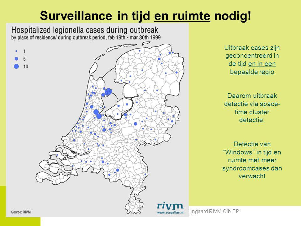 National Institute for Public Health and the Environment Geografie voor detectie van emerging infections, Kees van den Wijngaard RIVM-Cib-EPI Surveillance in tijd en ruimte nodig.