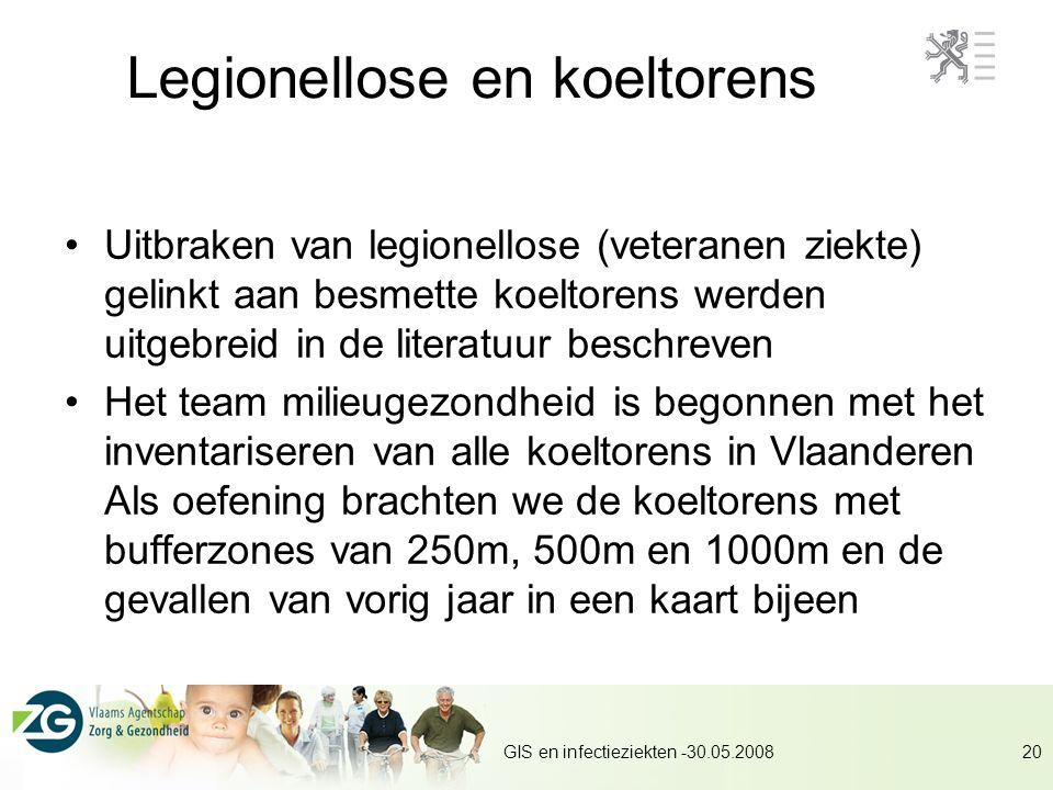 GIS en infectieziekten -30.05.200820 Legionellose en koeltorens Uitbraken van legionellose (veteranen ziekte) gelinkt aan besmette koeltorens werden uitgebreid in de literatuur beschreven Het team milieugezondheid is begonnen met het inventariseren van alle koeltorens in Vlaanderen Als oefening brachten we de koeltorens met bufferzones van 250m, 500m en 1000m en de gevallen van vorig jaar in een kaart bijeen