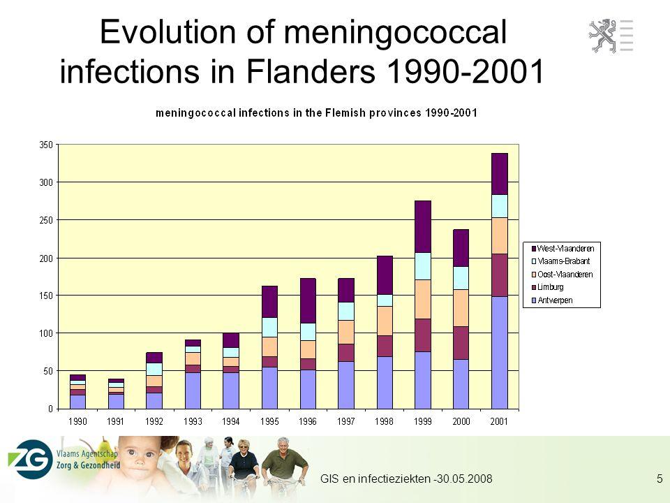 GIS en infectieziekten -30.05.20085 Evolution of meningococcal infections in Flanders 1990-2001