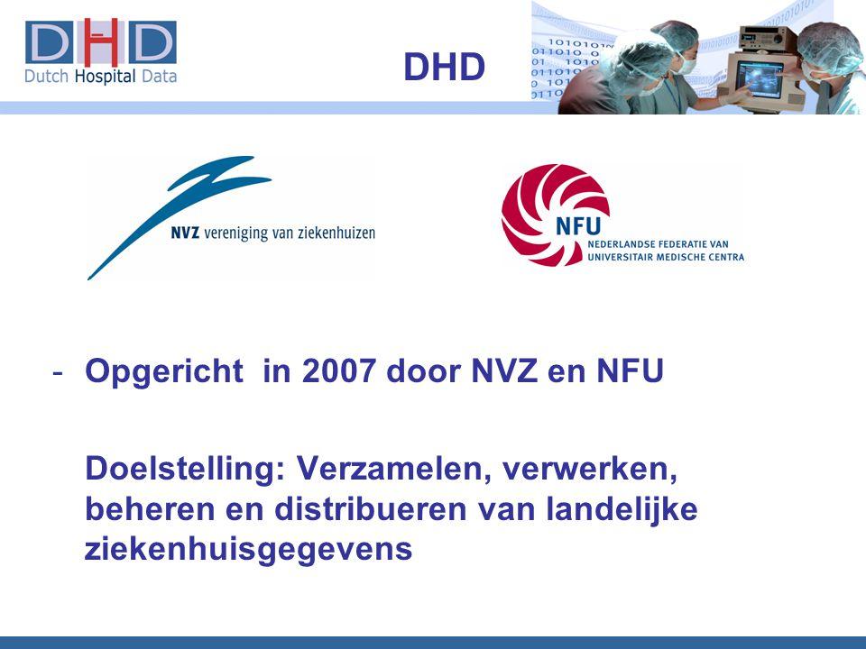 -Opgericht in 2007 door NVZ en NFU Doelstelling: Verzamelen, verwerken, beheren en distribueren van landelijke ziekenhuisgegevens DHD