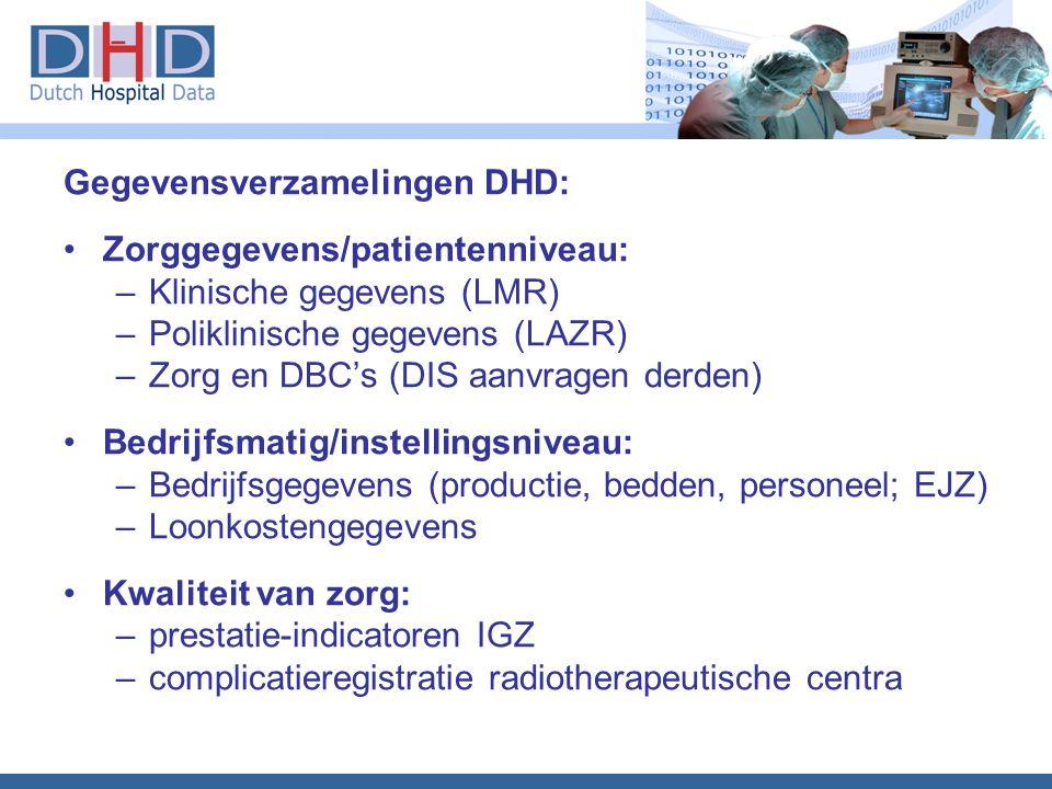 Gegevensverzamelingen DHD: Zorggegevens/patientenniveau: –Klinische gegevens (LMR) –Poliklinische gegevens (LAZR) –Zorg en DBC's (DIS aanvragen derden