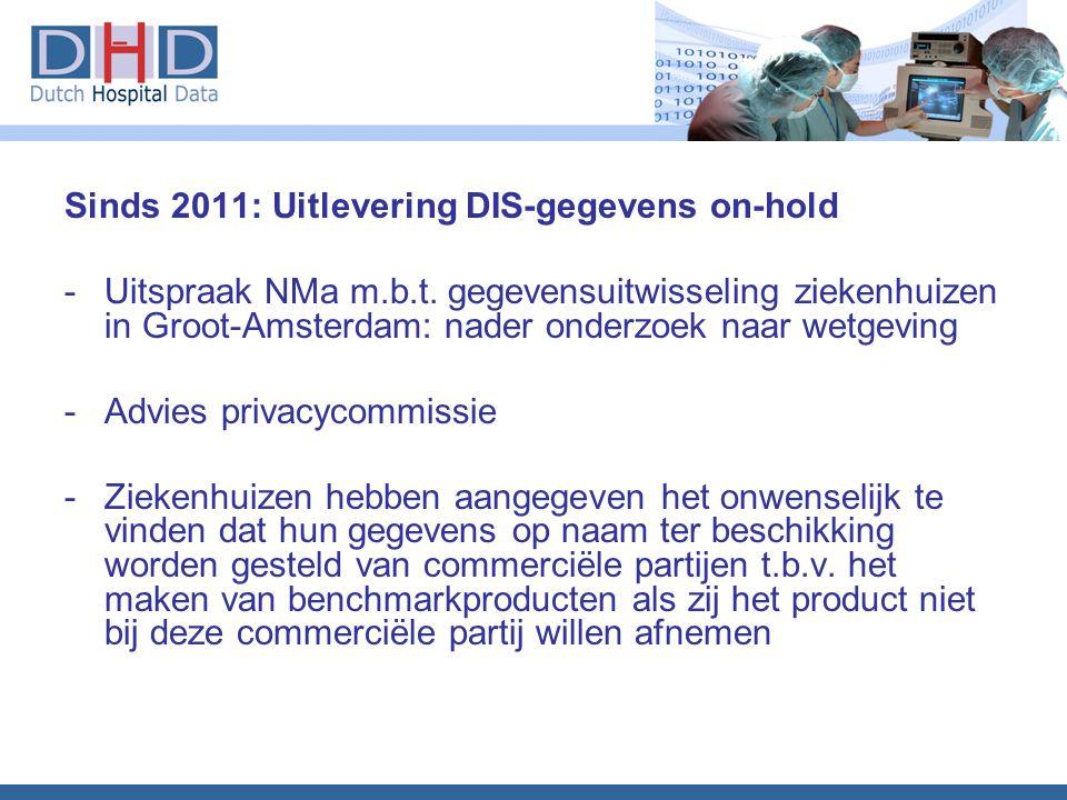 Sinds 2011: Uitlevering DIS-gegevens on-hold -Uitspraak NMa m.b.t. gegevensuitwisseling ziekenhuizen in Groot-Amsterdam: nader onderzoek naar wetgevin